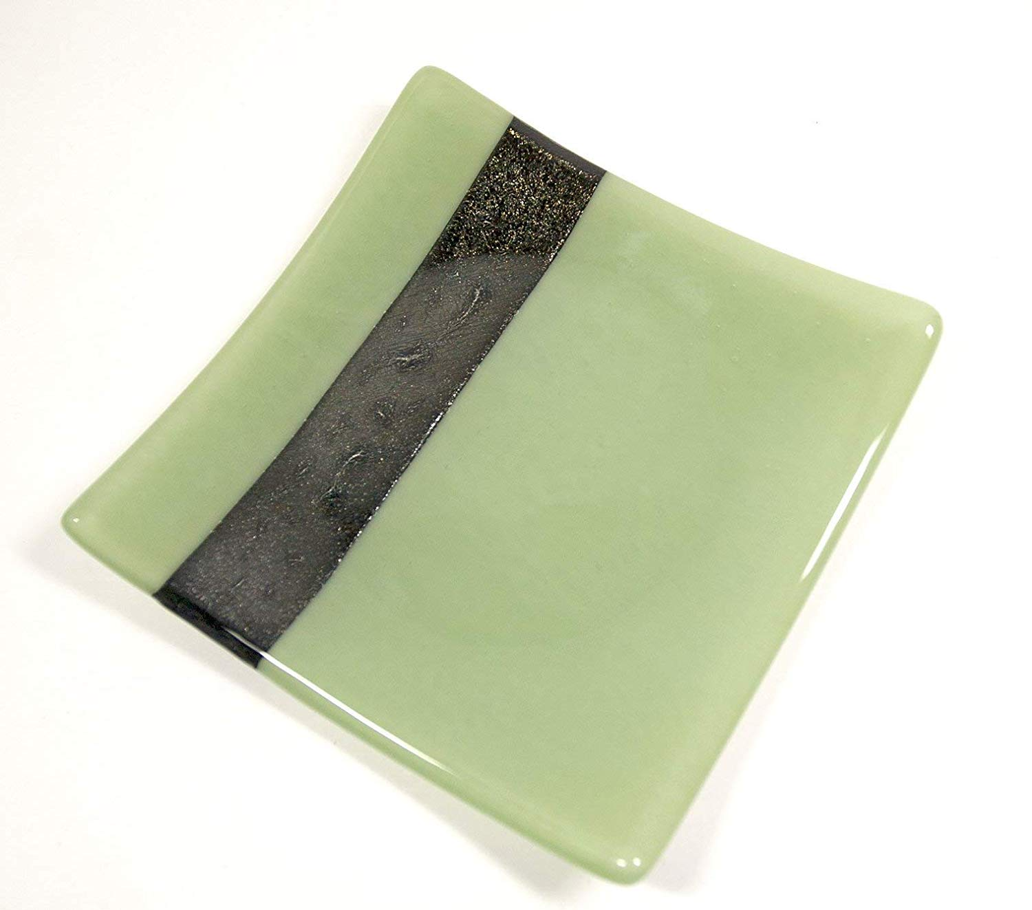 Square Candle Plate made from Green Fused Glass
