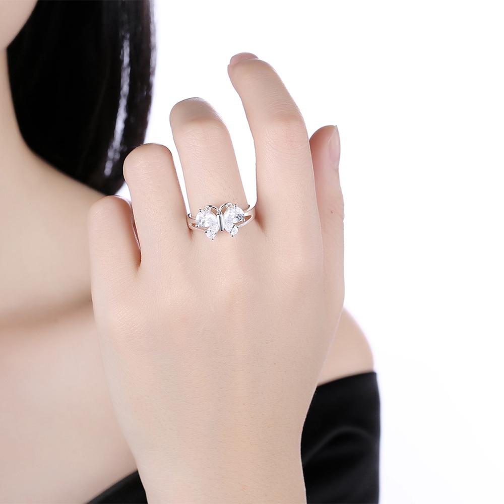 Latest Trendy Design Clear Diamond Butterfly Ring Fashion Cute ...