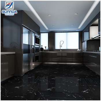 600x600 Kajaria Vitrified House Bathroom Bedroom New Model Black Glossy Glazed Polished Marble Flooring Tiles Price