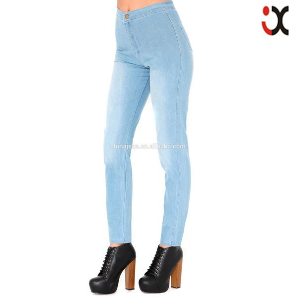 2015 Latest Design High Waist Lady Tight Wash Blue Light Color