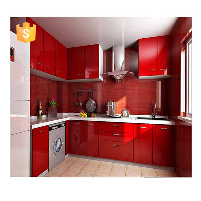 2020 High Gloss Red Lacquer Kitchen