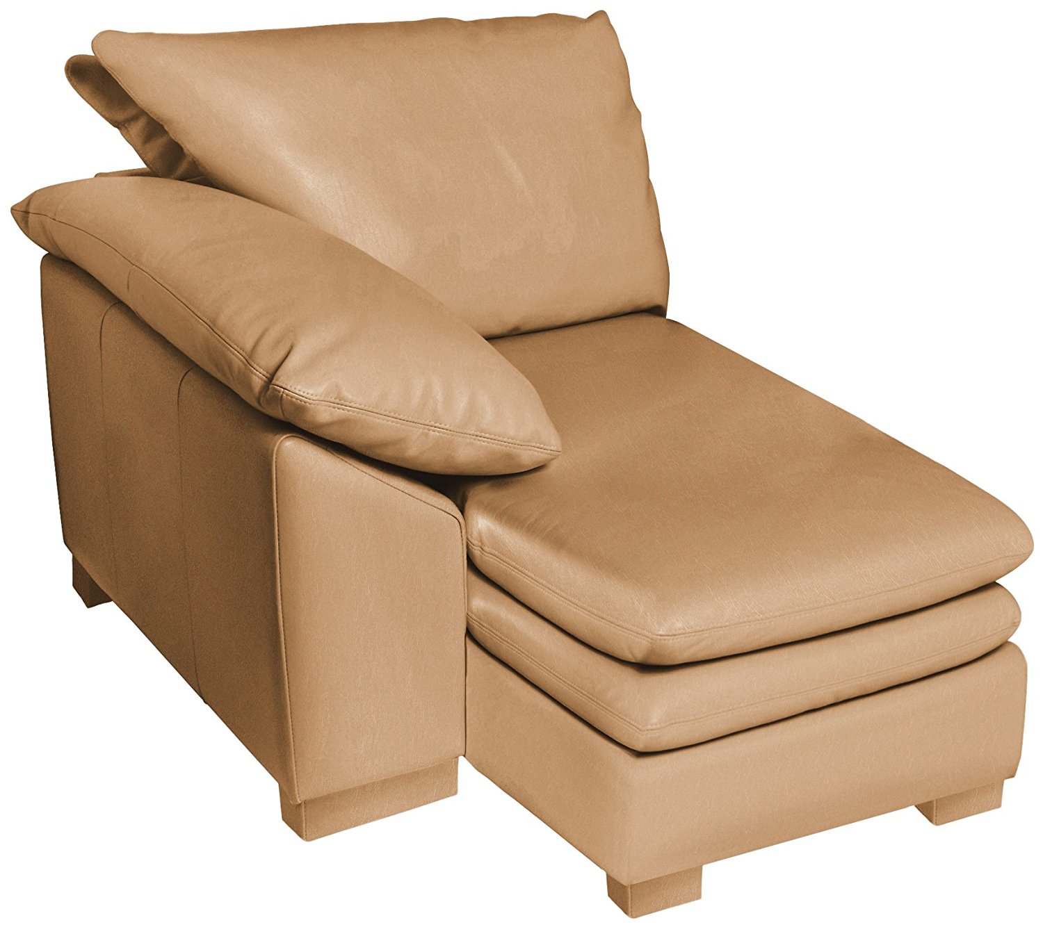 Omnia Leather Fargo Left Arm Chaise in Leather, Standard No Nail Head, Softstations Mica