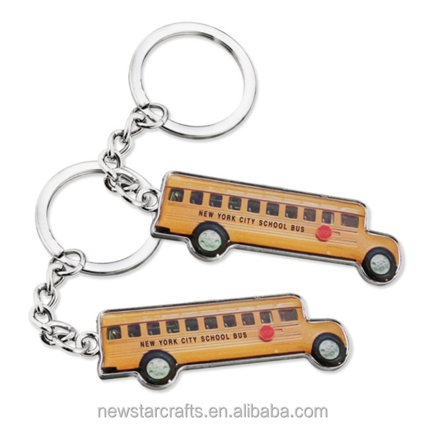 Good price custom blank metal souvenir school bus keychain
