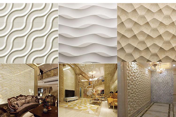 Yüksek Kaliteli Bej Mermer 3D Oyma Sanat Ev Dekorasyonu Üç Boyutlu Duvar Panelleri