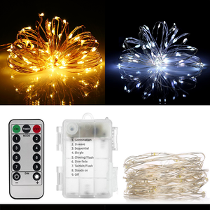 Outdoor decorative lighting for a car battery Christmas lights cable remote control fairy lights