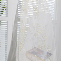 Unique newest embroidery tulle curtain fabric for ready made drapes
