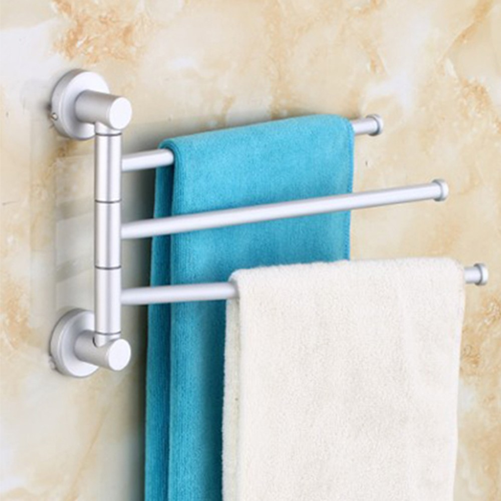 Wall Mounted Aluminum Bath Towel Holder Swivel Bathroom Rack Rail ...