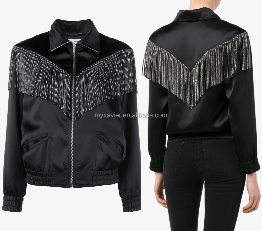 latest black jacket with fringe with silver studs elasticated waist and cuffs fashion women jacket