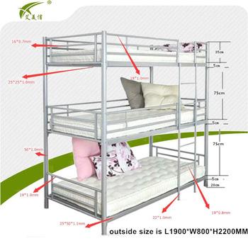 School Dormitory Iron Double Bed Design Furniture Steel Triple Bunk