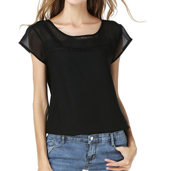 Women Chiffon Shirt Ladies elegant Blouse Girls Sexy Black Tops