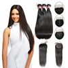 Time-limted 50% OFF Straight Hair Brazilian Vigirn Human Hair Weave 3 Bundles With Closure Weft