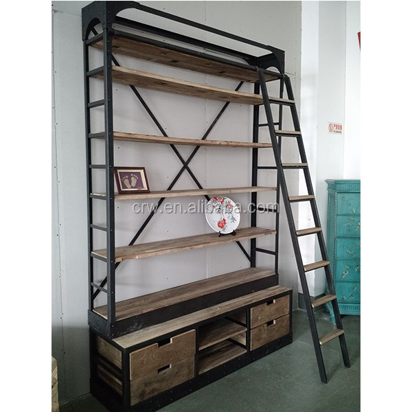 antieke gesneden boekenkast met kast base boekenkast met ladder