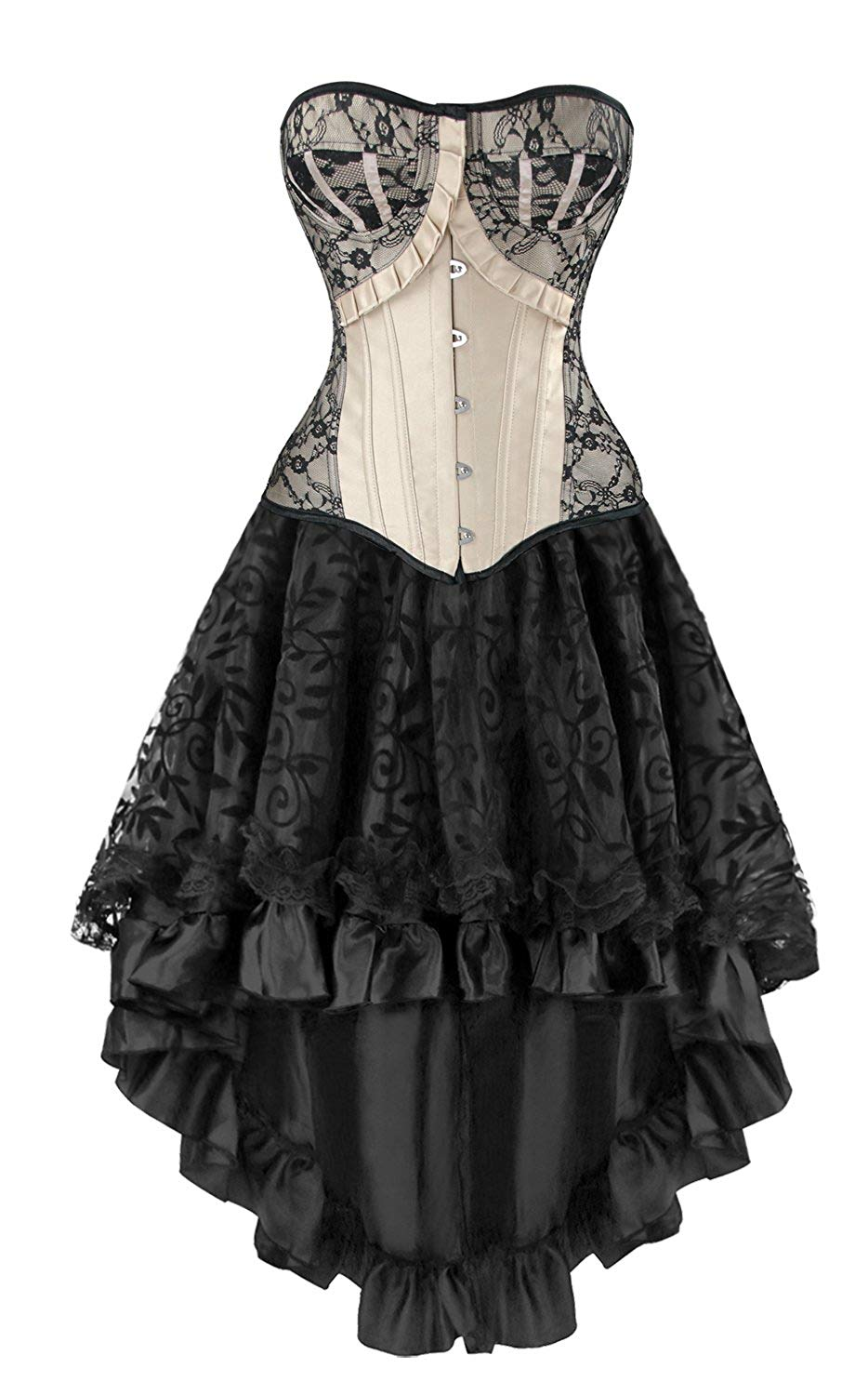 536103d880 Charmian Women s Steampunk Gothic Vintage Boned Corset with High Low Skirt