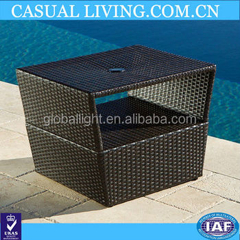 RESIN WICKER UMBRELLA SIDE TABLE STAND