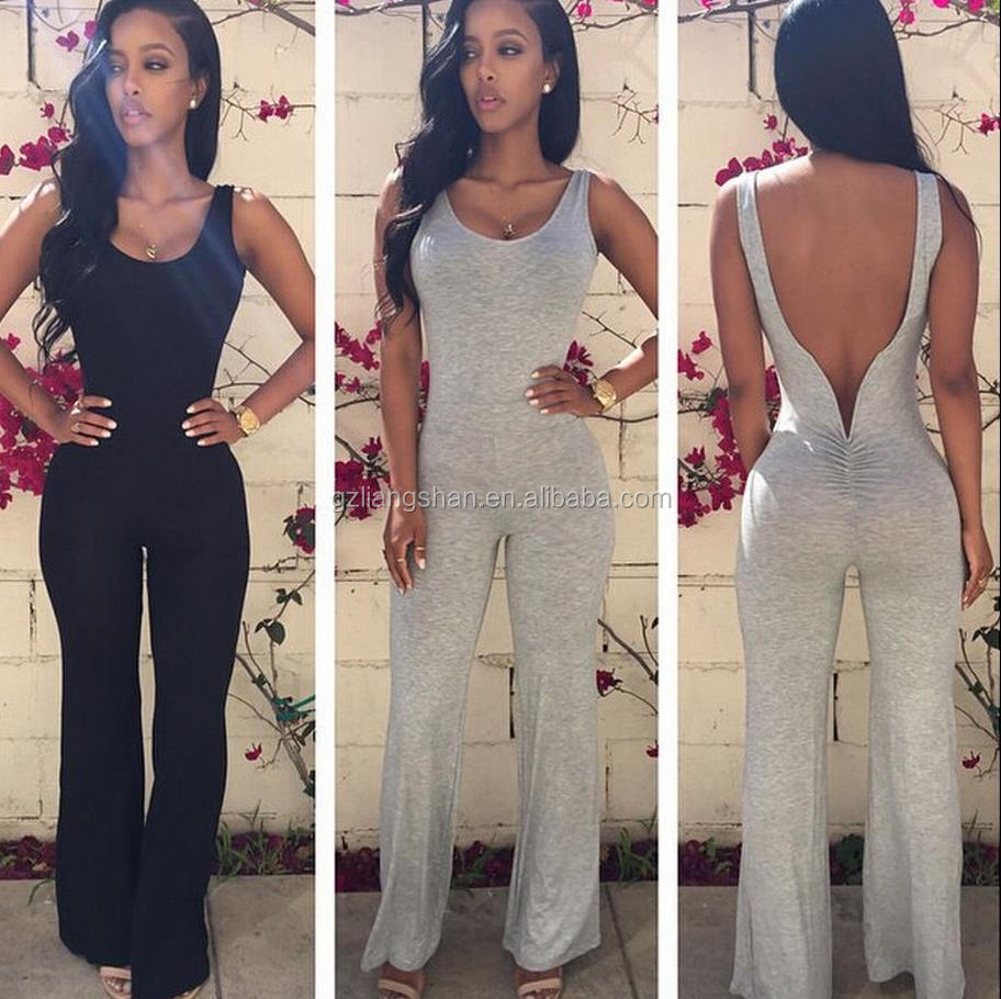 e4be6c4f39093 2016 nueva moda blanco negro pantalones largos sexy bodycon backless romper  pantalón mujeres catsuit jumpsuit uniforme