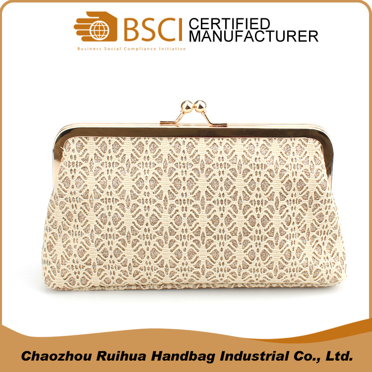 High quality OEM lace material evening bag clutch bag for women