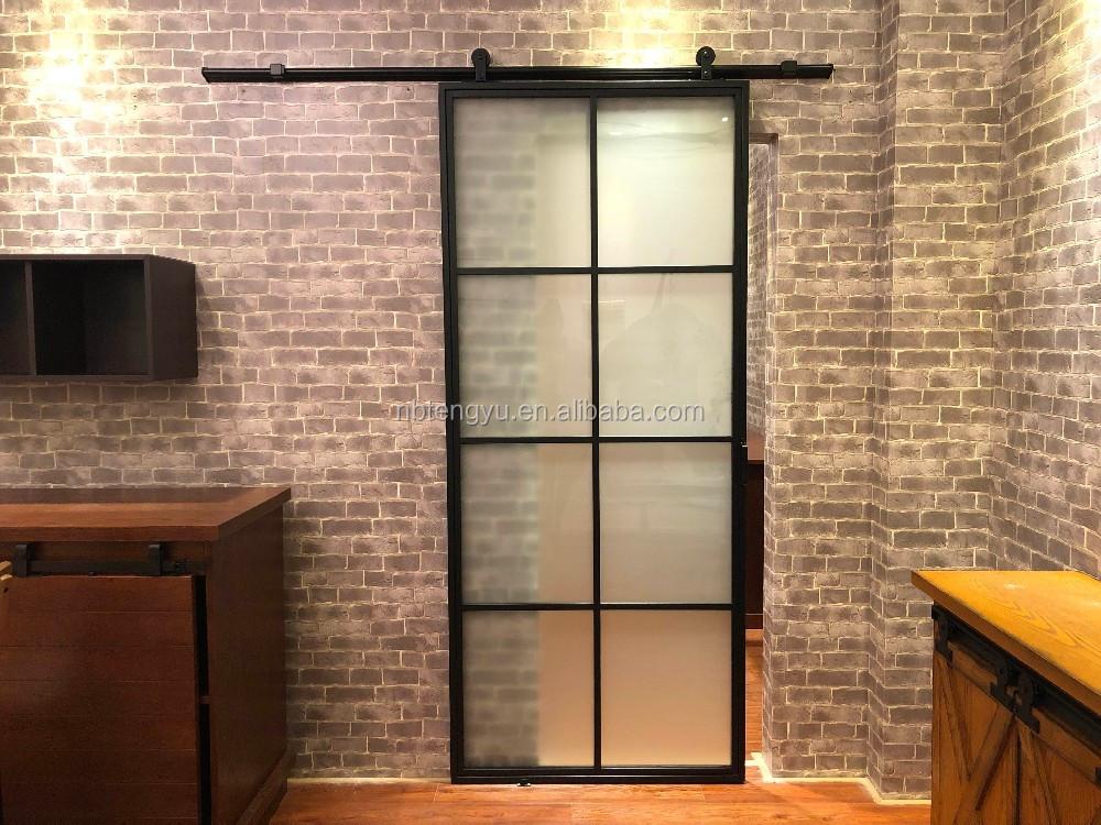 Frosted Glass Interior Door With Black Steel Frame Steel