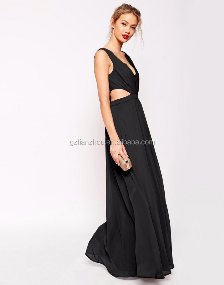 Western Designs Sleeveless Maxi Dresses Sexy V-Neck Side Cutout Long Dress For Women Party Night