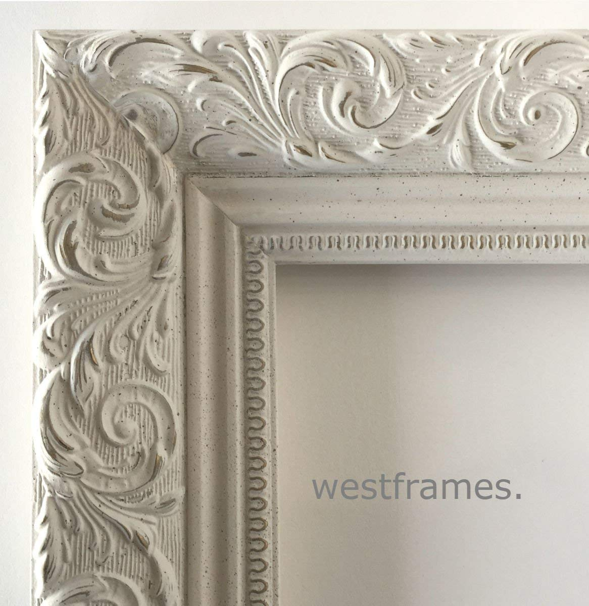 """West Frames Bella Ornate Embossed Wood Picture Frame (22"""" x 28"""", Antique White)"""
