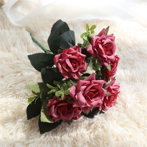 silk vision import china fabric artificial rose bouquet flower