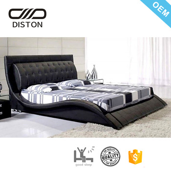 Hot Sell Bedroom Bed Modern Full Black Cheap Price Wave Shape