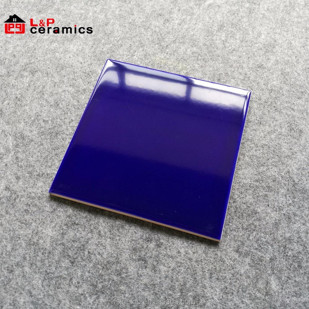 - Usa Stylish 6x6 Glossy Dark Cobalt Blue Subway Tile Ceramic Wall