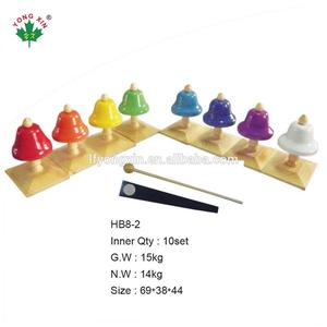 Hot selling metal teaching aid 8 tone colorful bell for musical instruments percussion