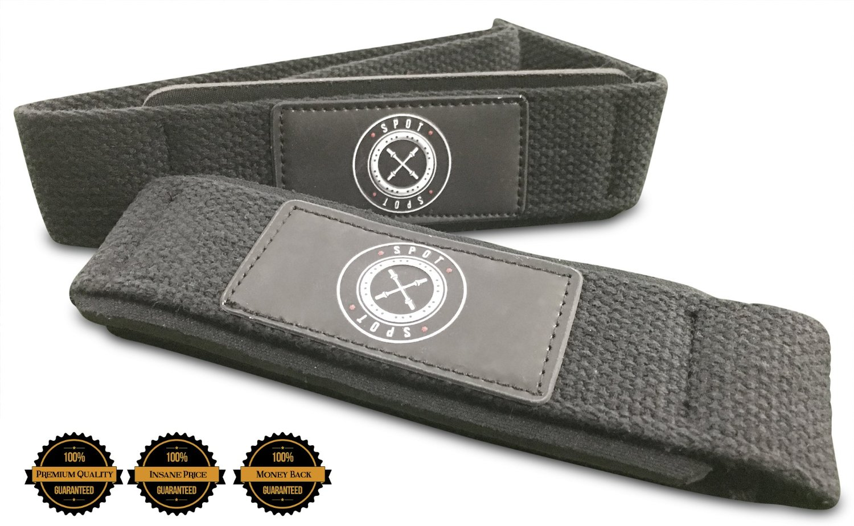 Premium Heavy Duty Gym Lifting Wrist Straps (Pair) - 100% Premium Guarantee Spot Lion Lifting Straps With Padding For Heavy Weightlifting Straps (Premium Leather Label)