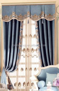 Interior Grandeur Clic Elegant French Provence Style Light Blue Curtain Valance With Tan Color Decorations Bf11