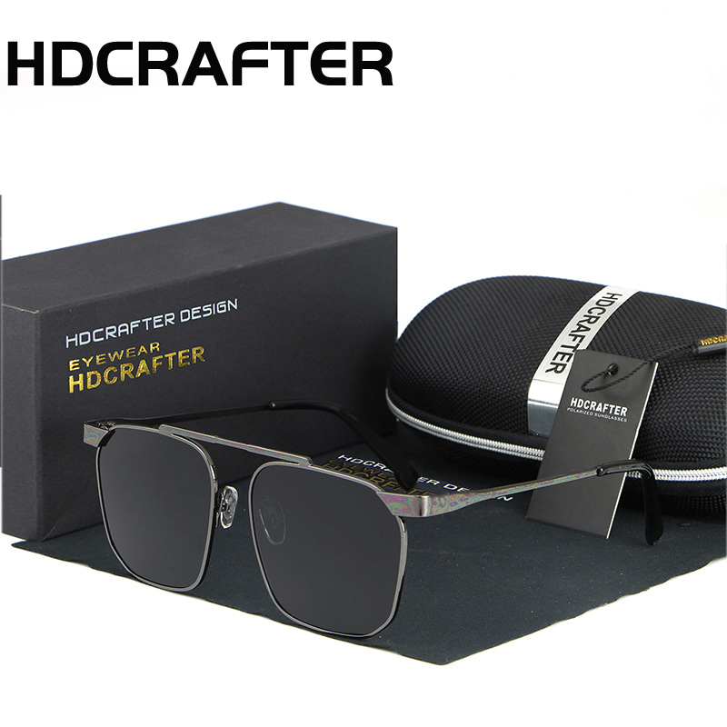 HDCRAFTER 2017 New Brand men and women Fashion Trend Driving Sunglasses Metal Frame Square Polarized Glasses