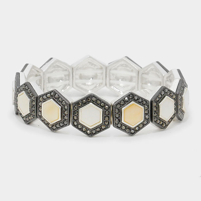 MLBR-02220 Octagon white pearl shell stretch bracelet