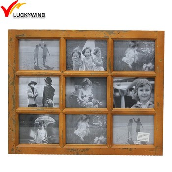 Wholesale Distressed Vintage 9 Opening Window Wooden Collage Photo