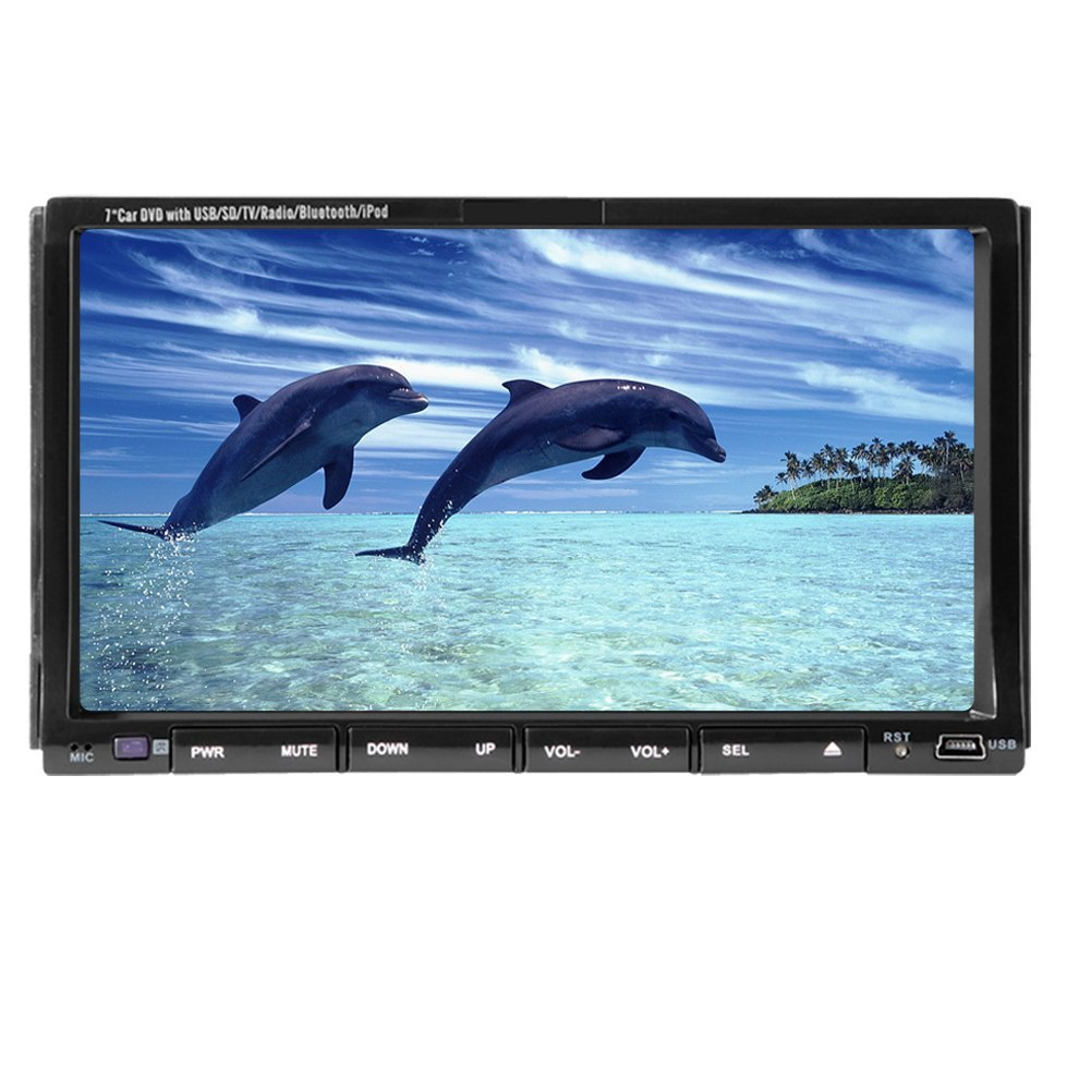 Christmas Sale!!! PC Pupug In Dash Double LCD Din7inch Radio Motorized Touchscreen Car DVD Monitor Player Video Audio CD USB SD Accessory MP4 MP3 Player Receiver Bluetooth DVD FM/AM VCD Touch