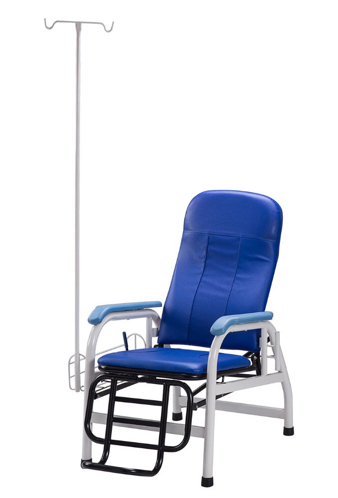 WCM-F-E010 Factory Price Infusion Chair Hospital Use Patient Transfusion Chair Iron Steel Pu Blood Donation Chair with IV Pole
