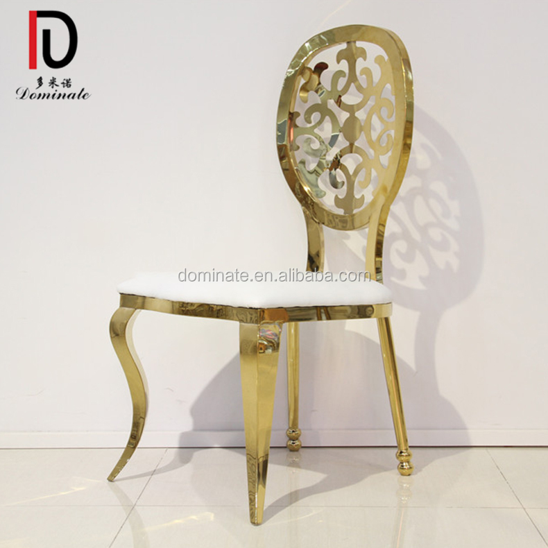 gold Event party flower stainless steel king and queen chair