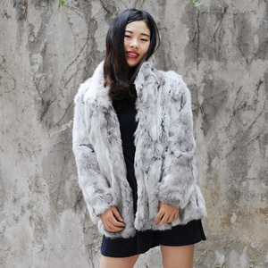 CX-G-A-138B Women's Rabbit Hair Fur Jacket Women's Coat