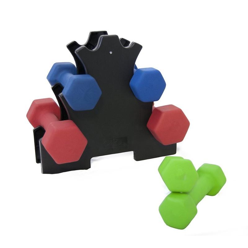 Red Neoprene Dumbbell Set: 12kg Hex Neoprene Dumbbell Set With Rack