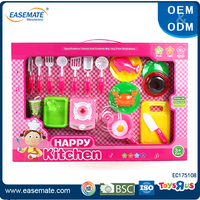 Hot sale kids pretend plastic food toy kitchen sets with light and music