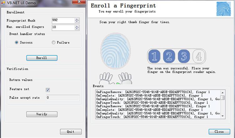 C# C++ Biometric Scanner Uru4500