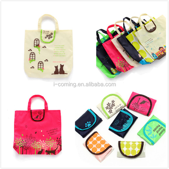 bf53fafef90 Custom 190t polyester foldable recycle promotional shopping cary pouch bag Reusable  printed nylon folding grocery