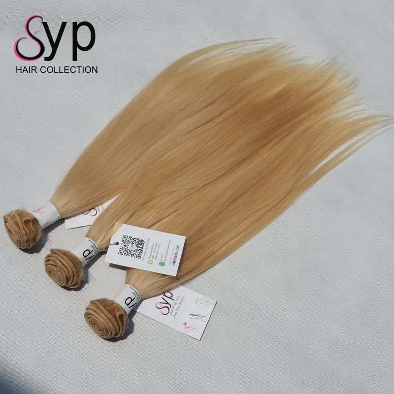 Blonde 613 Cuticle Aligned Virgin Unprocessed Human Bundle Wraps For Hair Extension 9a Grade Straight