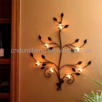 Christmas Wall Mounted Tree Candle Holders Wrought Iron Decoration