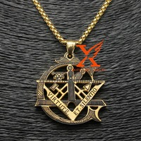 Gold Plated and Black Silver Stainless Steel Masonic Freemason Pendant