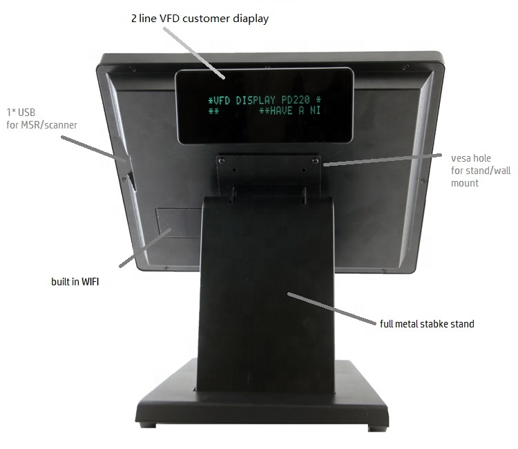 Factory Price 15.6 Inch Touch Screen Windows Pos Terminal With 3G/WIFI