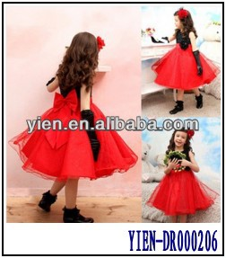Back With Big Butterfly Tie Red And Black Ball Gowns For Kids Girl