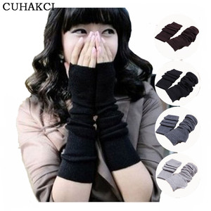 Women 2017 New Soft Warm Knitted Hand Arm Crochet Stretchy Long Fingerless Winter Gloves Mitten