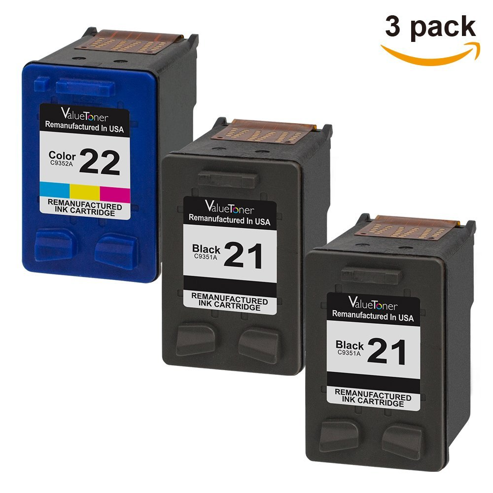 Valuetoner Remanufactured Ink Cartridge Replacement for HP 21 21XL HP 22  22XL of (2 Black
