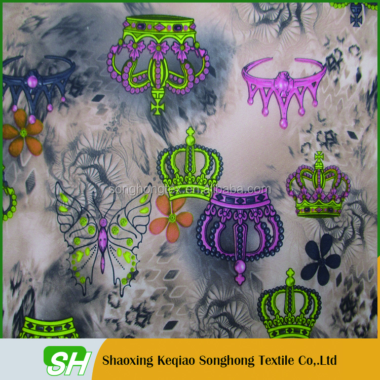 Crown design 190T printed taffeta fabric lining printing for tablecloth