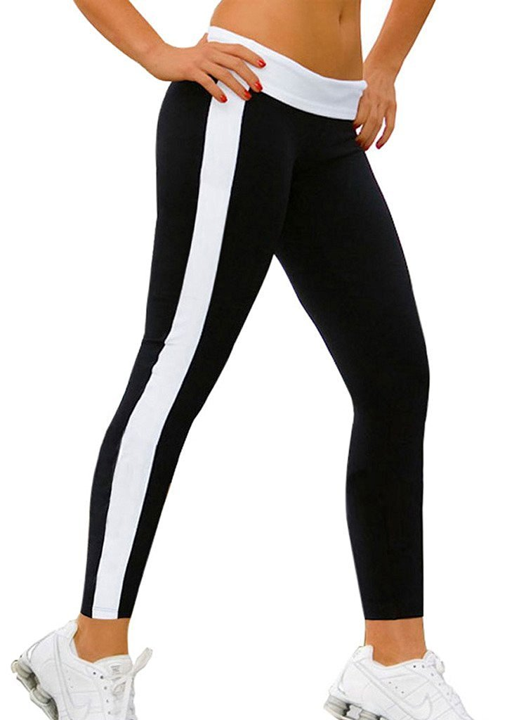 820203766e Honeystore Women's Full Length Cotton Exercise High Waist Patchwork  Stretchy Yoga Pants Workout Active Leggings Joggers