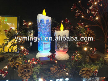 flameless battery operated led christmas light water glitter big candle light - Battery Operated Christmas Candles